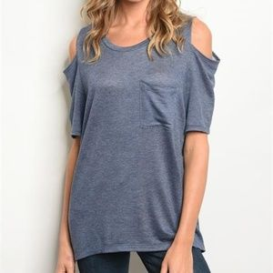 Tops - Cold Shoulder Denim Blue Top